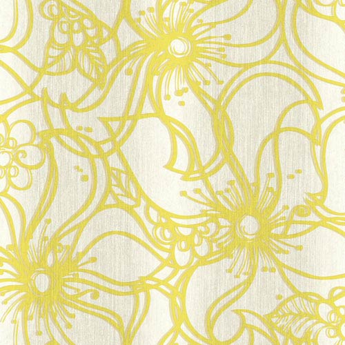 York Wallcoverings Stacy Garcia Paper Muse Cream and Yellow Whimsical Bloom Wallpaper: Sample Swatch Only