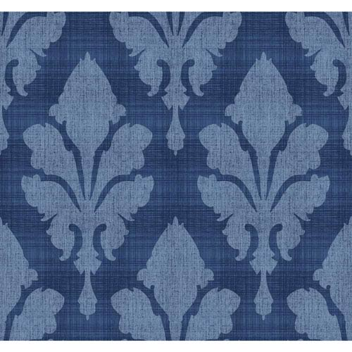 York Wallcoverings Stacy Garcia Paper Muse Blue Fleurish Wallpaper