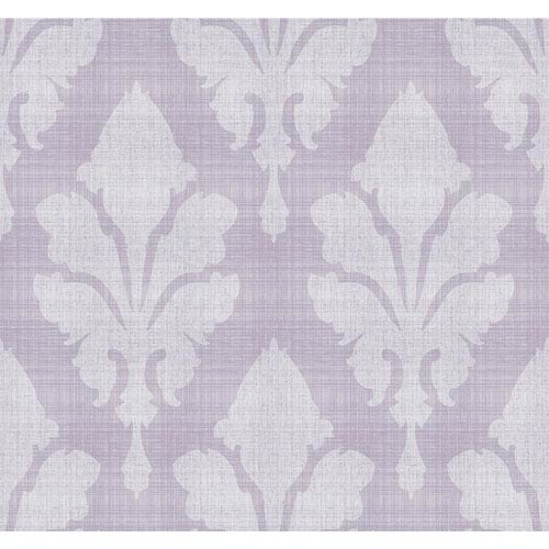 York Wallcoverings Stacy Garcia Paper Muse Grey and Purple Fleurish Wallpaper