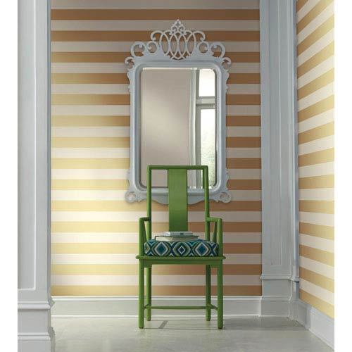 Waverly Stripes Gold 3-Inch Wide Stripe Wallpaper: Sample Swatch Only