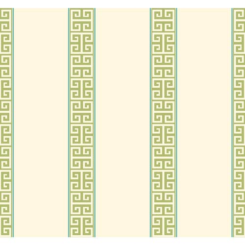 Waverly Stripes Greek Key Stripe Wallpaper: Sample Swatch Only