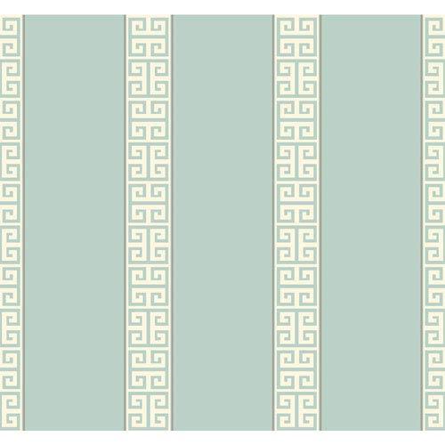 York Wallcoverings Waverly Stripes Greek Key Stripe Wallpaper: Sample Swatch Only