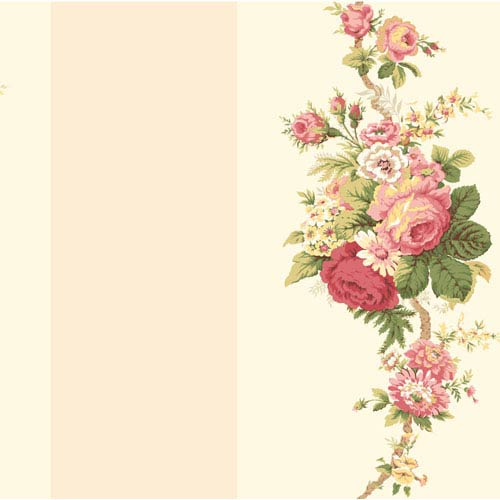 Waverly Stripes Norfolk Rose Wallpaper: Sample Swatch Only