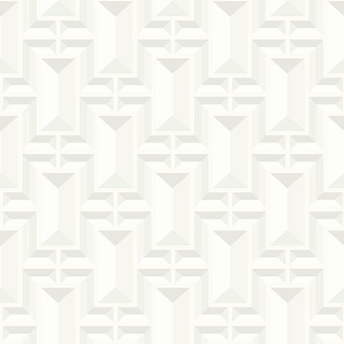 York Wallcoverings Ashford Whites White Geometric Wallpaper