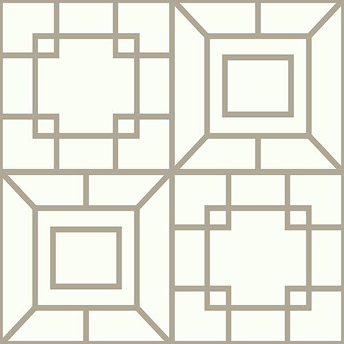 Ashford Whites Warm Silver Geometric Wallpaper