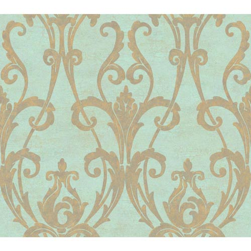 Weatherby Woods Aqua and Gold Ogee Damask Wallpaper: Sample Swatch Only