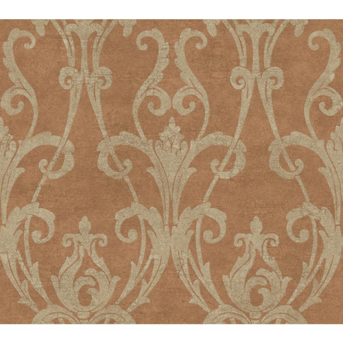 Weatherby Woods Copper Cinnamon and Putty Ogee Damask Wallpaper: Sample Swatch Only