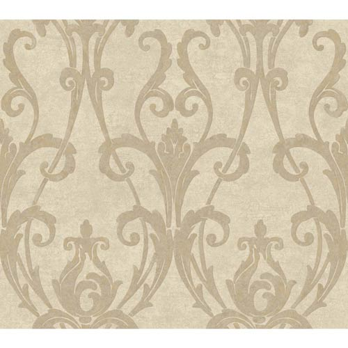 York Wallcoverings Weatherby Woods Cream and Silvery Taupe Ogee Damask Wallpaper: Sample Swatch Only