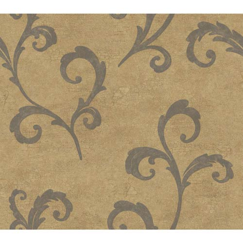York Wallcoverings Weatherby Woods Gold and Charcoal Gray Distressed Scroll Wallpaper: Sample Swatch Only