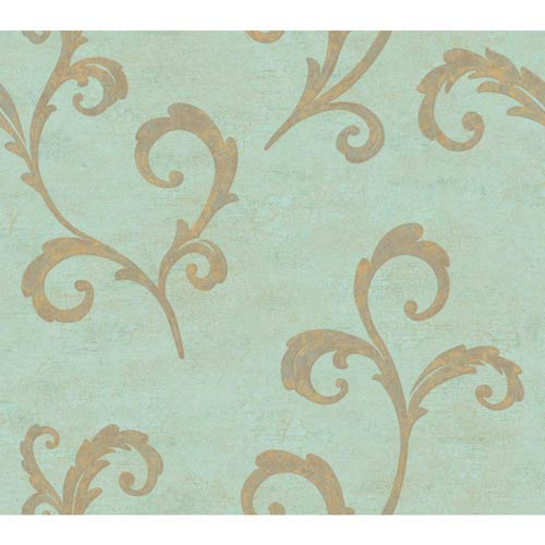 York Wallcoverings Weatherby Woods Aqua and Gold Distressed Scroll Wallpaper: Sample Swatch Only