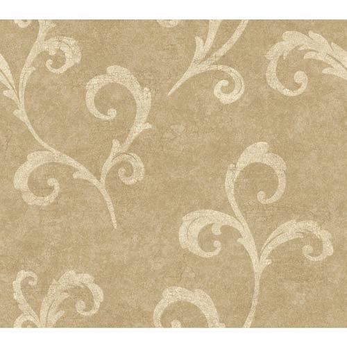 York Wallcoverings Weatherby Woods Gold and Tan Distressed Scroll Wallpaper: Sample Swatch Only