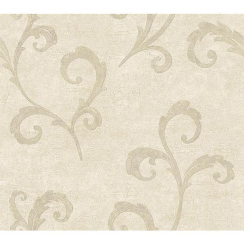 York Wallcoverings Weatherby Woods Off White and Pearl Taupe Distressed Scroll Wallpaper: Sample Swatch Only