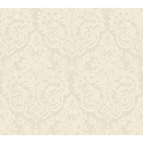 York Wallcoverings Weatherby Woods Golden Cream and White Textured Damask Wallpaper: Sample Swatch Only