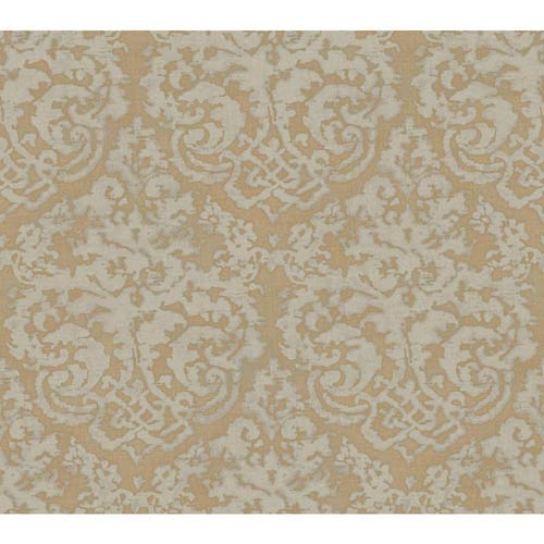 Weatherby Woods Gold and Smoky Gray Textured Damask Wallpaper: Sample Swatch Only