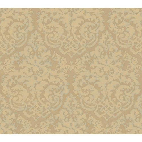 York Wallcoverings Weatherby Woods Taupe, Buttercream Pearl and Spa Green Textured Damask Wallpaper: Sample Swatch Only