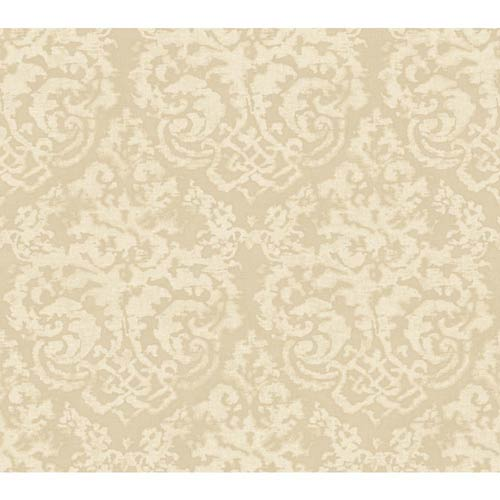 York Wallcoverings Weatherby Woods Taupe Pearl and Off White Textured Damask Wallpaper: Sample Swatch Only