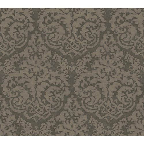 York Wallcoverings Weatherby Woods Silvery Charcoal Gray and Sage Textured Damask Wallpaper: Sample Swatch Only
