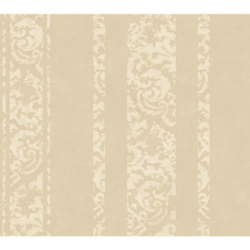York Wallcoverings Weatherby Woods Taupe Pearl and Off White Textured Stripe Wallpaper: Sample Swatch Only