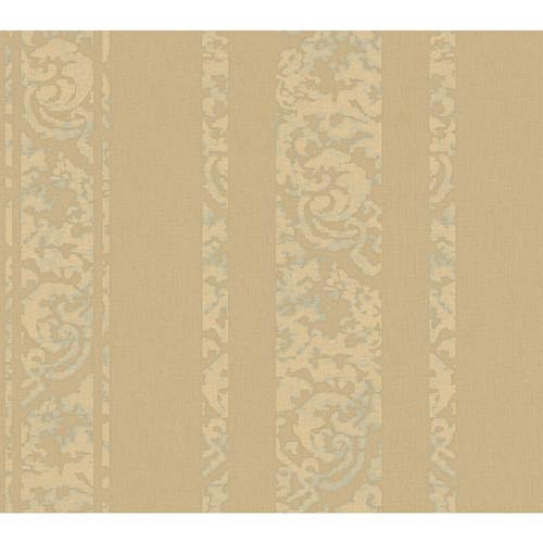 York Wallcoverings Weatherby Woods Taupe, Buttercream Pearl and Spa Green Textured Stripe Wallpaper: Sample Swatch Only