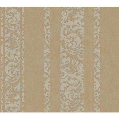 York Wallcoverings Weatherby Woods Gold and Smoky Gray Textured Stripe Wallpaper: Sample Swatch Only