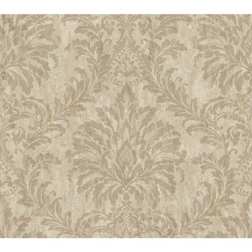 York Wallcoverings Weatherby Woods Taupe, Putty and Mocha Tan Stucco Damask Wallpaper: Sample Swatch Only