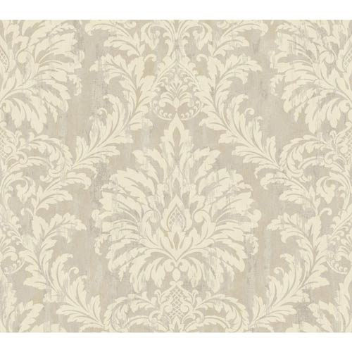 Weatherby Woods Cream, Gray and Beige Stucco Damask Wallpaper: Sample Swatch Only