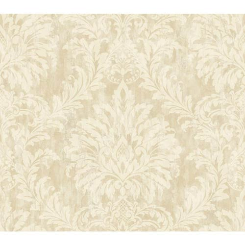 York Wallcoverings Weatherby Woods Vanilla, Tan and Chalk White Stucco Damask Wallpaper: Sample Swatch Only