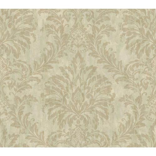 Weatherby Woods Green, Seafoam and Golden Brown Stucco Damask Wallpaper: Sample Swatch Only