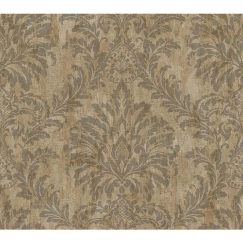 York Wallcoverings Weatherby Woods Brown, Charcoal and Copper Rust Stucco Damask Wallpaper: Sample Swatch Only