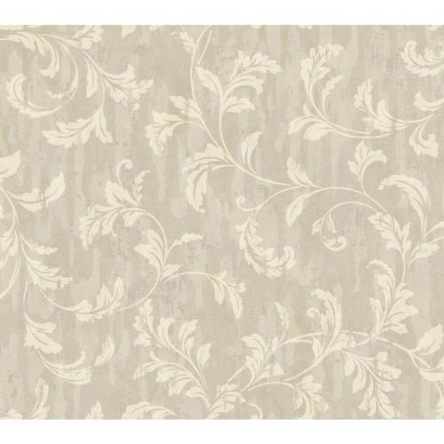 York Wallcoverings Weatherby Woods Cream, Gray and Beige Stucco Scroll Wallpaper: Sample Swatch Only