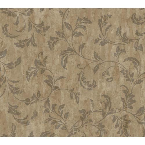 York Wallcoverings Weatherby Woods Brown, Charcoal and Copper Rust Stucco Scroll Wallpaper: Sample Swatch Only