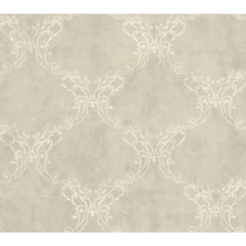 York Wallcoverings Weatherby Woods Silver Gray, Golden and Crème Laser Cut Ogee Wallpaper: Sample Swatch Only