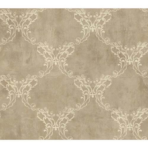 York Wallcoverings Weatherby Woods Coffee and Cream Laser Cut Ogee Wallpaper: Sample Swatch Only
