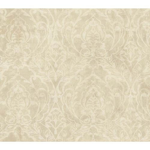 York Wallcoverings Weatherby Woods Crème, Beige and White Smoke Laser Cut Damask Wallpaper: Sample Swatch Only
