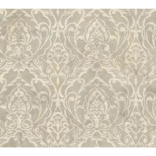 York Wallcoverings Weatherby Woods Silver Gray, Golden and Crème Laser Cut Damask Wallpaper: Sample Swatch Only