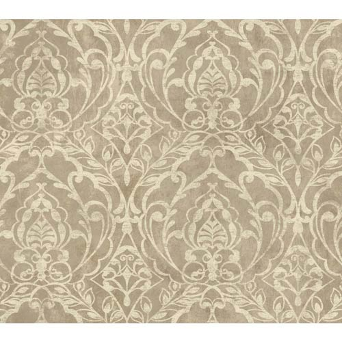 York Wallcoverings Weatherby Woods Coffee and Cream Laser Cut Damask Wallpaper: Sample Swatch Only