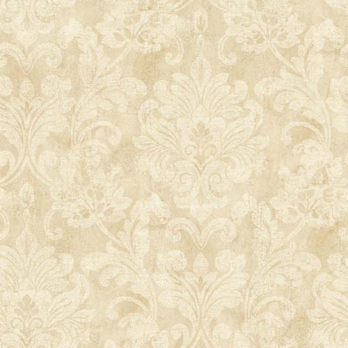 York Wallcoverings Weatherby Woods Crème, Beige and White Sophisticated Damask Wallpaper: Sample Swatch Only
