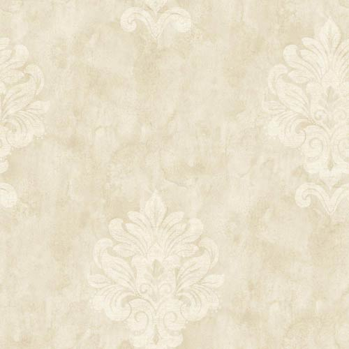 York Wallcoverings Weatherby Woods Vanilla, Mocha and White Sophisticated Medallion Wallpaper: Sample Swatch Only