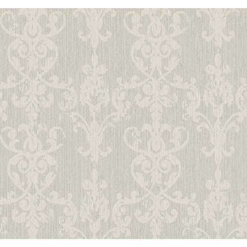 York Wallcoverings Weatherby Woods Silver Glitter and Dove Gray Distressed Damask Scroll Wallpaper: Sample Swatch Only
