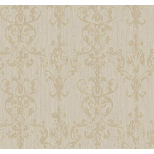 York Wallcoverings Weatherby Woods Silver Glitter and Tan Distressed Damask Scroll Wallpaper: Sample Swatch Only