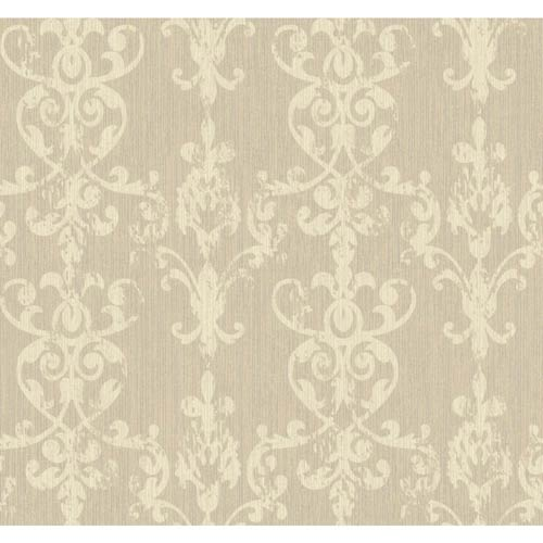York Wallcoverings Weatherby Woods Silver Glitter, Beige and Cream Distressed Damask Scroll Wallpaper: Sample Swatch Only