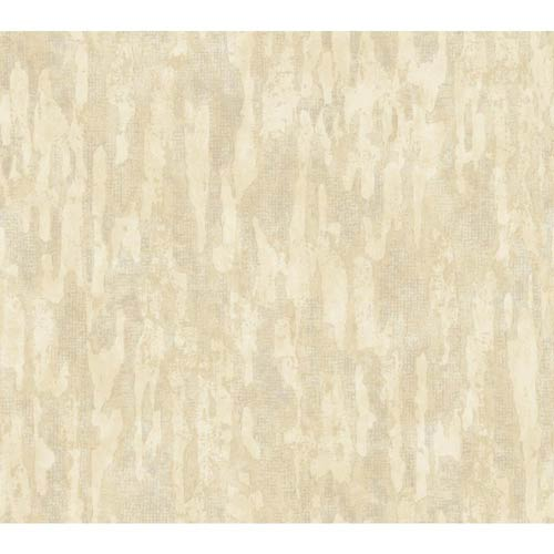 York Wallcoverings Weatherby Woods Vanilla, Tan and Chalk White Stucco Damask Texture Wallpaper: Sample Swatch Only
