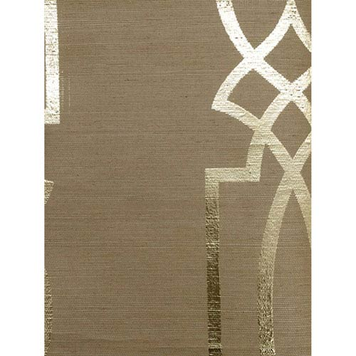 Ronald Redding Designs Stripes Resource Cathedral Trellis Brown Wallpaper