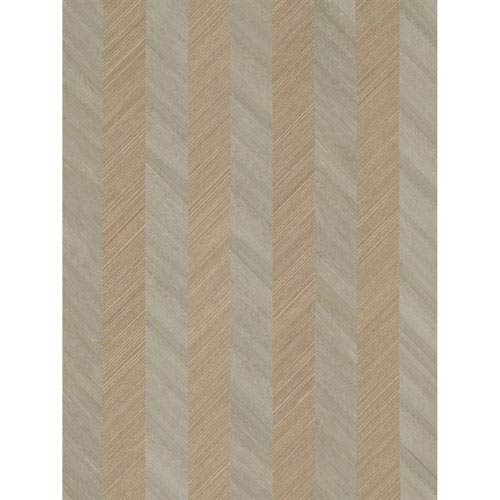 Ronald Redding Designs Stripes Resource Grass/Wood Stripe Off White Wallpaper