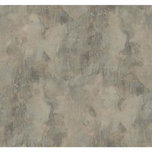 York Wallcoverings Texture Portfolio Grey and Tan Antiqued Marble Wallpaper