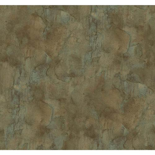 York Wallcoverings Texture Portfolio Russet and Beige Antiqued Marble Wallpaper: Sample Swatch Only