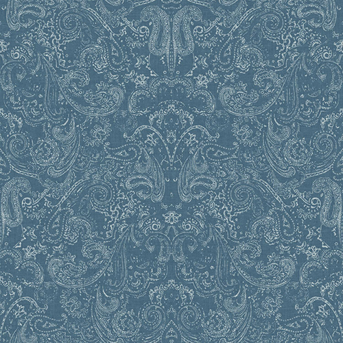 Patina Vie Blue and White Paisley Wallpaper