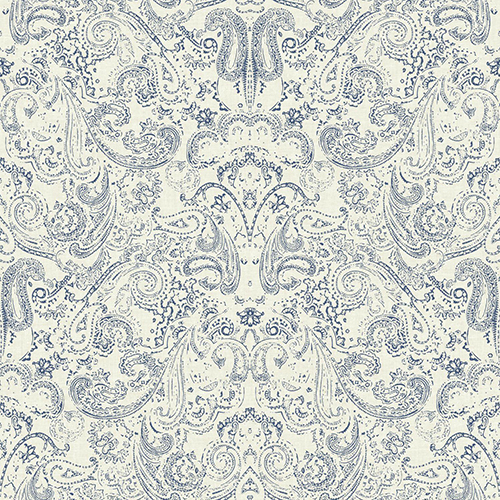 Patina Vie Navy Blue and White Paisley Wallpaper - SAMPLE SWATCH ONLY