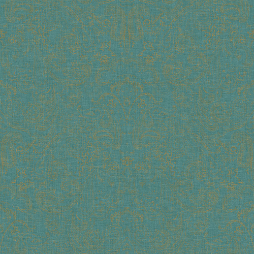 Patina Vie Gold and Teal Paisley Wallpaper