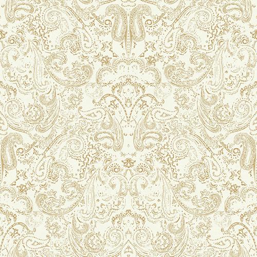 Patina Vie Gold and White Paisley Wallpaper